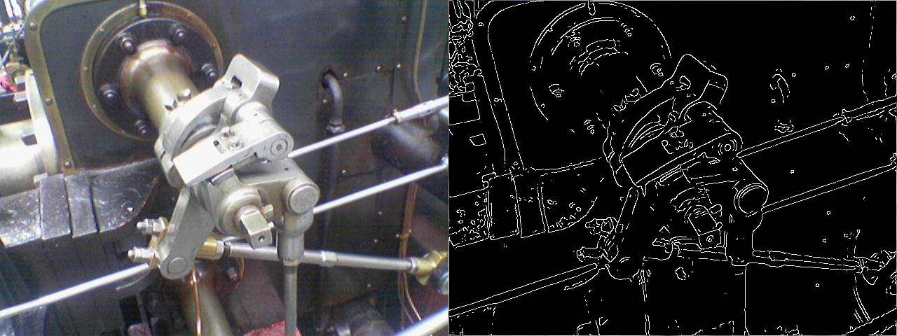 The Canny edge detector (output on right) applied to a photograph of a steam engine (original on left).