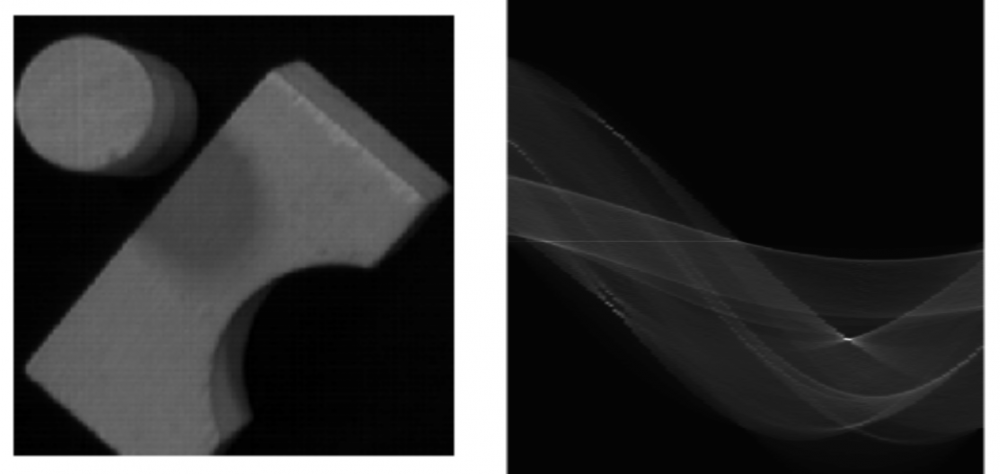 Hough transform on an image of some blocks
