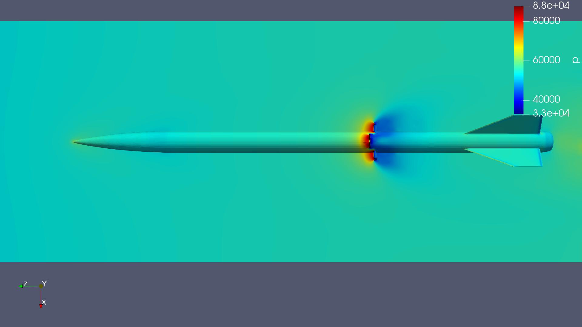 EULER full-body CFD: pressure at Ma 1.2